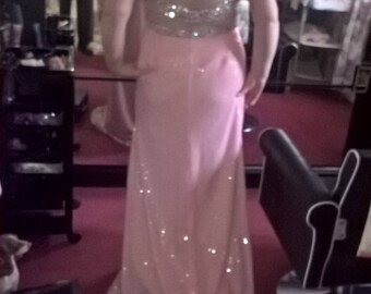 ladies sparkly pink long dress