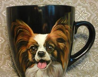 Mug Happy Papillon, hand painted mug, designer mug, coffee mug, Personalized dog mug, ceramic mug, Porcelain mug