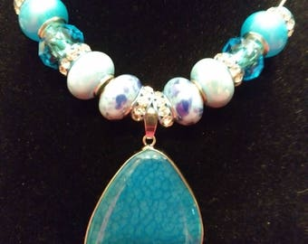 Gorgeous, Blue Themed, Murano bead, Necklace with Rhinestones and Pendant