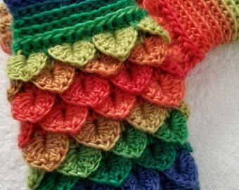 Dragonscale fingerless gloves, rainbow