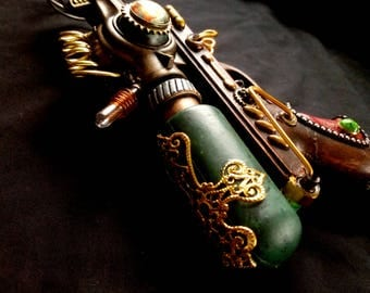 STEAMPUNK Nautilus Ray gun nerf type, metallic green, red leather handle, gauges, cosplay or display