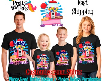 CANDYLAND Birthday Girl Theme Family BLACK Shirts For the Entire Family Mom Dad Brother and More T-shirts Long/ Short sleeve Candy land