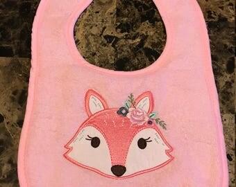 Pink fox bib