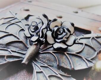 Polymer Clay Rose Flower Stud Earrings