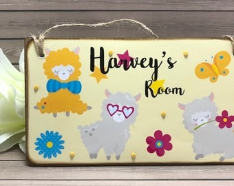 Personalised Llama Room Sign, Nursery Decor, Children's Name Plaque, Girls Door Sign, Llama Door Plaque, Llama Name Sign, Boys Door Sign