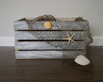 Washed Up Wooden Coastal Decorative Crate
