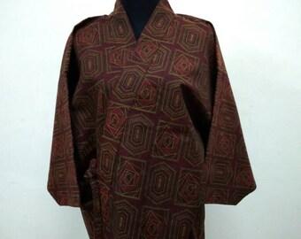 Japanese haori kimono maroon kimono jacket /kimono cardigan/kimono robe/#014
