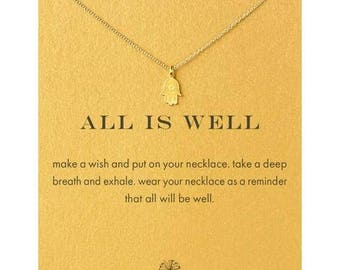 All is Well hamsa hand Necklace