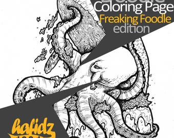 Octopus + Burger ; Doodle Coloring Page (jpeg 300dpi)