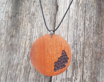 Large big wooden amulet. Exotic wood pendant. Big woodland eco planet. Eco gift for woman, unisex wood gift