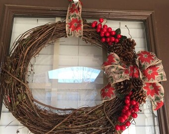 Large Christmas Wreath with side details