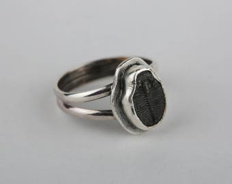 Size 7 Trilobite Fossil Sterling Silver Ring, Handmade, Unique