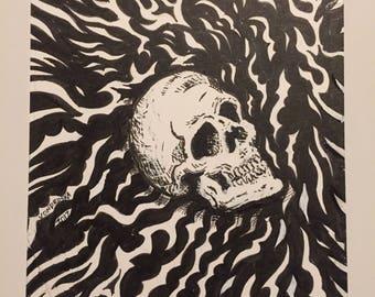 Crazy Skull (5 by 7 black and white art)