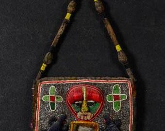 Beaded Yoruba tribal shaman's Diviner bag