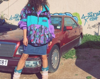 Vintage 90s unisex multicolored thick tracksuit top