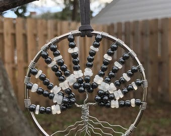 Hematite & Moonstone Gemstone Tree of Life Sun Catcher