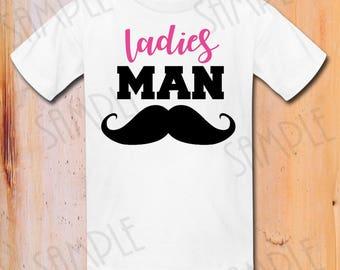 Ladies Man Valentine's Day Mustache Digital Wall Art Printable Art INSTANT Digital Download DIY T-shirt iron on printable shirt Decor