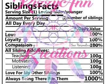 Sibling Nutritional Facts Svg Cut File, Birthday, Cricut, Cameo Silhouette, T-shirt, Decal, Cup Decal, Print and Cut, Brother
