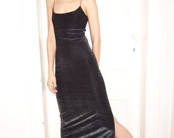 Long metallic/Silver looking dress with delicate elastic straps and a leg cut out