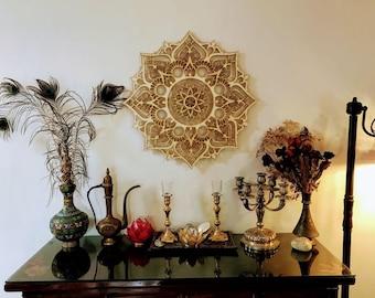 Charmant Bohemian Wall Decor, Living Room Wall Hanging, Wood Wall Art, Mandala Art,