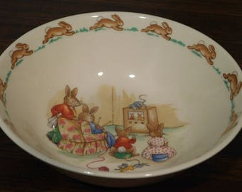 Royal Doulton Bunnykins cereal bowl 1936 - Beatrix Potter/ TV Time/Nursery/Baby Shower