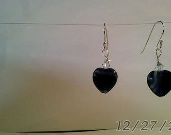 Purple Fluorite Crystal Hearts with a small swarovski clear crystal on 925 Sterling Silver Earrings.