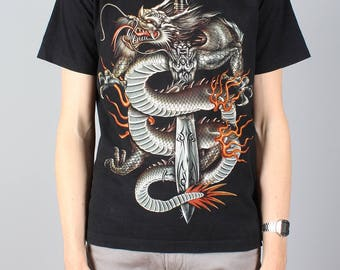 Dragon Sword T-shirt - vintage punk rock tshirt - Chinese style T shirt - heavy metal goth rock fantasy shirt - festival - Rock Chang Size M