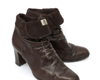 EU 38 Brown leather ankle boots women size UK 5 / US 7.5 - 80s vintage leather shoes for women - laced up victorian style booties with heels