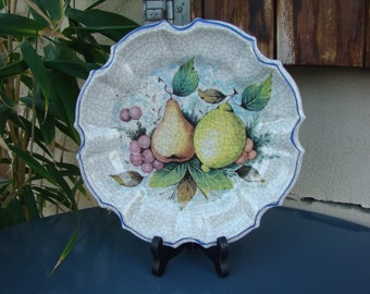 PLATE decorative MELAMINE decor fruit - plate vintage wall fruit orchard - Retro laminated flat with orchard design - Italy