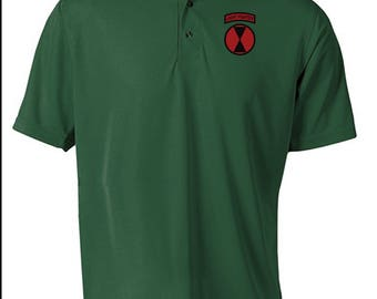 7th Infantry Division Embroidered Moisture Wick Polo Shirt -3336