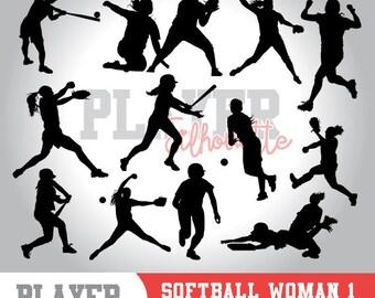Softball Women SVG, Softball player svg, Softball digital clipart, athlete silhouette, Softball Women sport, cut file, design, A-023
