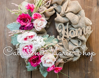 Burlap Floral Wreath With Home Sign