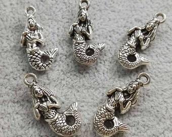 50pcs Antiquet silver Mermaid Charms , Mermaid Pendants , Mermaid Jewelry , Ocean Charms , Sea Charms , Sea Life Charms ,Findings