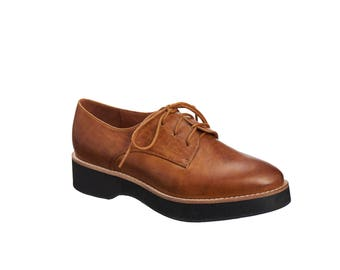 Brown Leather Oxford Shoes / Women Wedge Shoes / Tie Shoes / Lacing Shoes / Flat Shoes / Antelope Shoes / Casual Shoes / Derby Shoes - 286