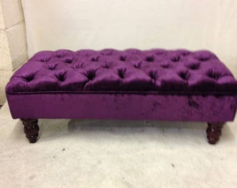 Large Bespoke Deep Buttoned Chesterfield Footstool Ottoman - Crushed Velvet Fabric - Purple Stool - Upholstered Coffee Table