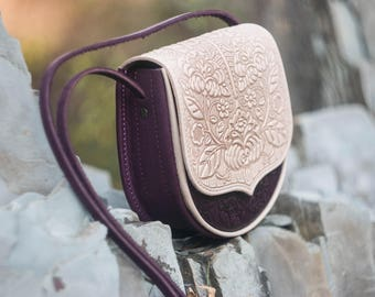 Small feminine bag, purple+ivory bag, leather mini purse, hot tooled leather, bright shoulder bag, embossed leather purse, gift for girl