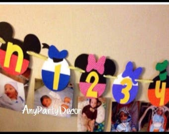Mickey Mouse Clubhouse First Year Photo Banner - Mickey Mouse Newborn to 12 Month Banner / Mickey Mouse Clubhouse First Birthday Party