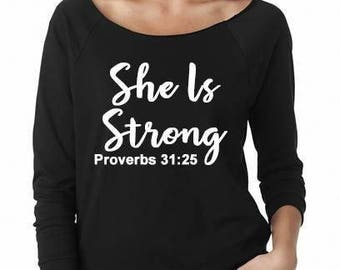 She Is Strong Shirt, Proverbs Shirt, Christian, Faith, Jesus Shirt, mom life, new mom gift, 3/4 Sleeve