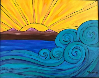 Powerful Ocean, Original Acrylic Painting On Canvas. Waves. Whimsical painting.