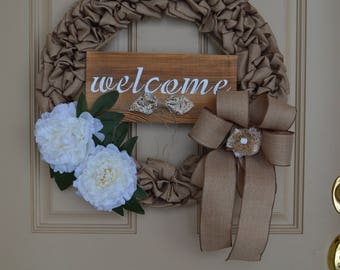 Burlap Wired Ribbon Welcome Spring Wreath