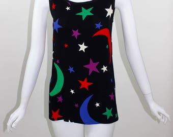 Vintage Yves Saint Laurent Moon & Stars Sleeveless Top 1979 YSL
