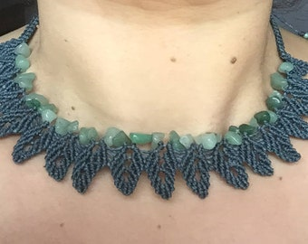 aventurine macrame necklace