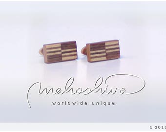 wooden cuff links wood walnut maple handmade unique exclusive limited jewelry - mahoshiva k 2017-33