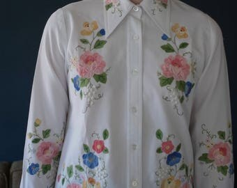 1970s King James California hand embroidered floral applique shirt