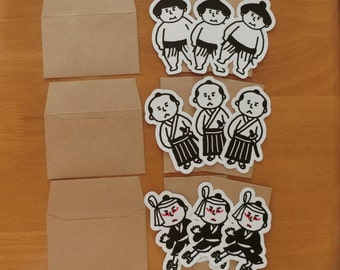 Japanese mini card set (Men/Kabuki,Sumo,Samurai,Ninja)