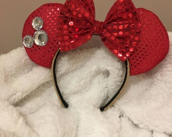 Classic Ears with Stones (Red)