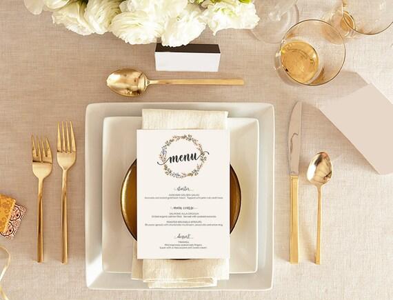 Wedding Menu Place Card Template PrintableEditable Script Wedding - Menu place cards template