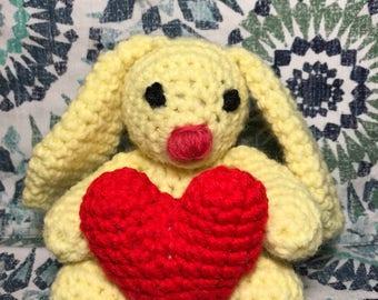 Amigurumi Stuffed Bunny, Plush Bunny, Crochet Stuffed Animal, Handmade Stuffed Animal, Nursery Decor, Valentine's Day Gift, Anniversary Gift