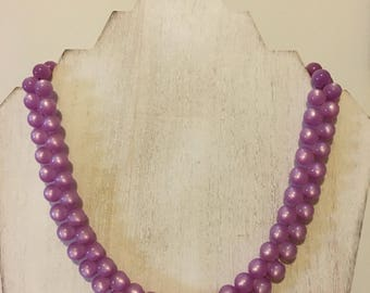 Vintage-Style Light Violet Moonglow Beaded Necklace (17 inches)