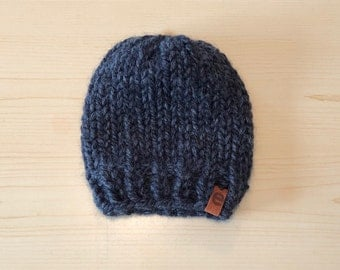 chunky charcoal knit hat